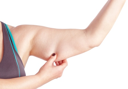 holding arm: Middle-aged woman holding a hand with excess fat. On a white background. Stock Photo