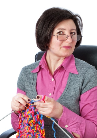 spare time: Middle-aged woman knit in my spare time