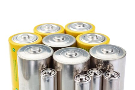 Alkaline batteries symbol of clean energy on a white background. photo