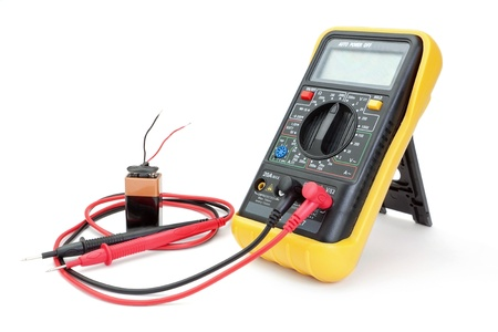 ammeter: Electrical appliance ammeter - a multimeter to measure the battery. Stock Photo