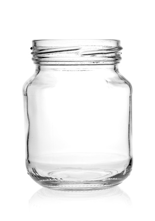 Glass jar with empty threaded on a white background. Archivio Fotografico