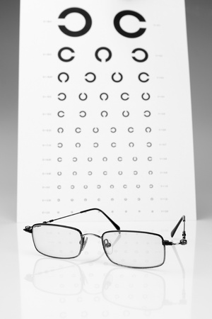 Table Golovin and glasses eye tests. photo