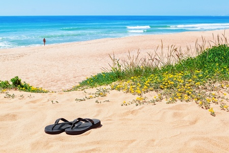 Flip-flops on the background of the beautiful beach and the sea. photo