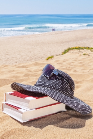 Panama for the sun and reading books on the beach against the sea. Sunglasses. Imagens - 19475435
