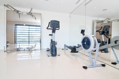 Gym and fitness equipment. Indoor. photo