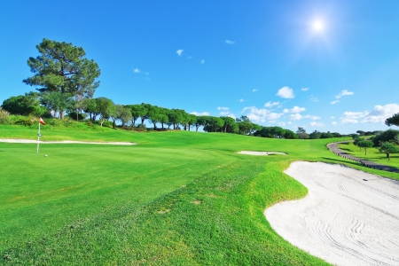 golf green: A luxury golf course for summer vacations. Stock Photo