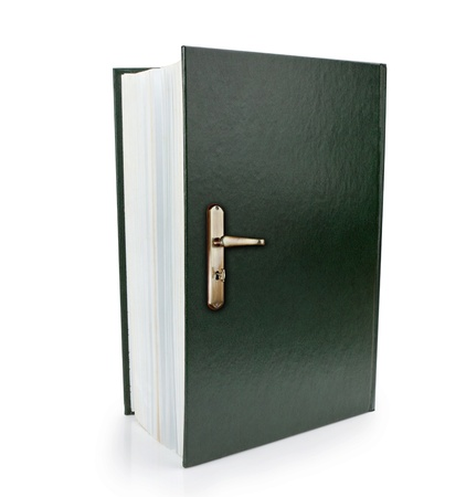 gaining: Open book and doorknob symbol of gaining knowledge and wisdom