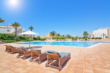 Lovely pool in the summer for a family vacation. Portugal Algarve, quinta Boa Nova.  photo