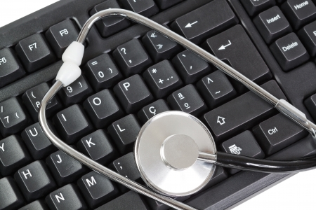 Computer Keyboard for PC and stethoscope as a diagnostic  Close-up  photo