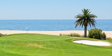 Panoramic views of the golf course to the sea and palm trees  Portugal, Algarve  photo