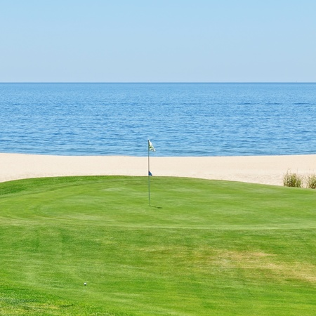 Beautiful view of the golf course to the sea  Portugal, Algarve  photo