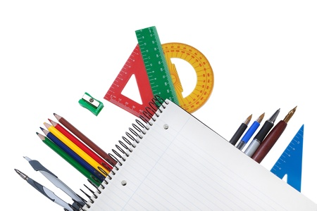 Set of office tools under a notebook to take notes. Place in the text. photo