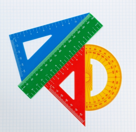 protractor: School drawing tools. Triangle, ruler, protractor. Stock Photo