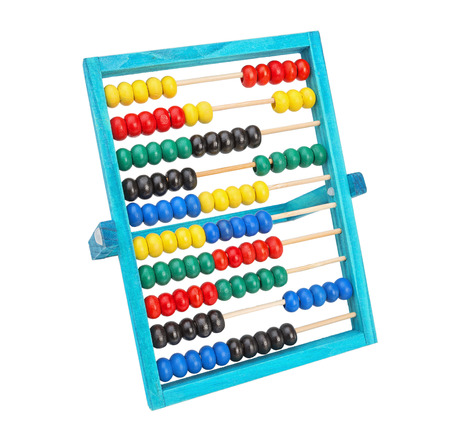 Old classic arithmetic abacus.  Different colors on a white background.