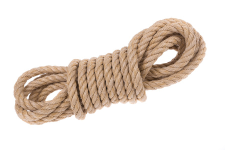 different jobs: Shake twisted ropes for different jobs. Close-up on a white background.