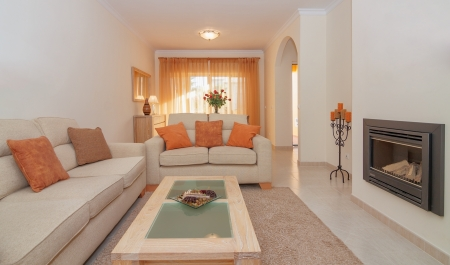 Luxurious lounge dining living room with fireplace for relaxing. With a great design.