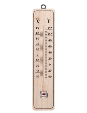 Classic wooden thermometer.  photo