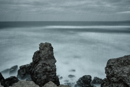 mapped: Dramatic seascape texture mapped. In cold tones. Stock Photo