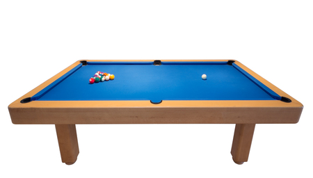 Billiard table with balls for the game.  photo