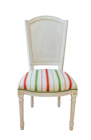 Wooden furniture upholstered chair.  Archivio Fotografico