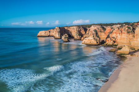 Seascape view from the mountain in Portugal. Algarve Zone.