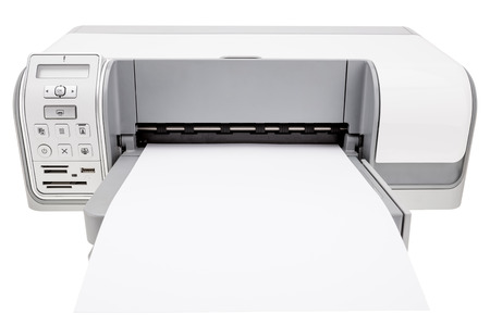 Office printer and blank paper for notes. On a white background. photo