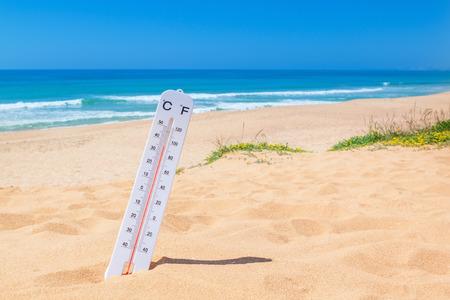 The heat on the beach.  Stockfoto