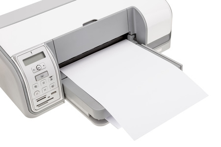Office printer with paper for printing text. Close-up. photo