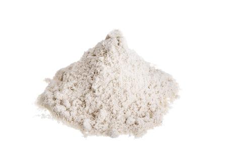 Pile milk whey protein. On a white background.