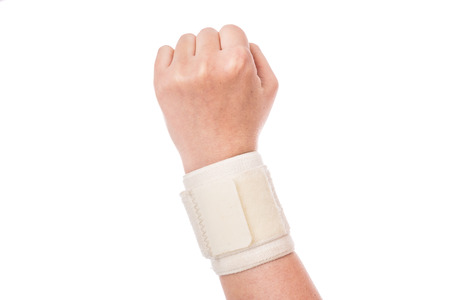 sprained joint: Orthopedic wrist band. Sports injuries.