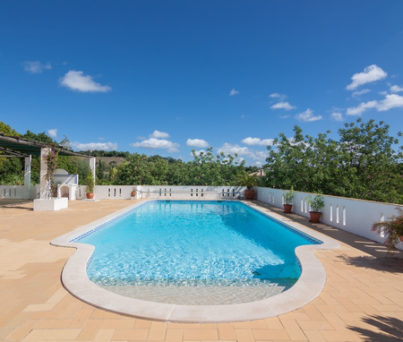 Summer outdoor pool in the garden. For swimming and recreation.