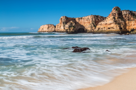 vilamoura: Summer beach with clear water. Albufeira, Portugal. Stock Photo