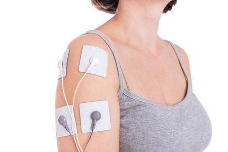 Treatment electrostimulator shoulder. Tendonitis, periarthritis. Imagens - 35651399