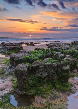 gale: Marine magical landscape before sunset. Albufeira beach Gale.