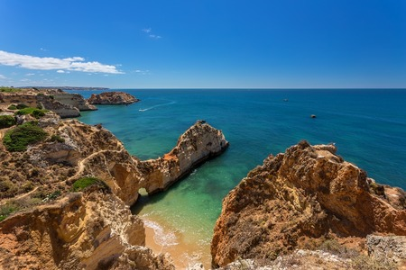 clear waters: Magic seascapes Albufeira. In summer, the clear waters. Portugal Algarve area.