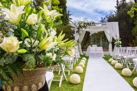 bröllop: Dekorationer för bröllopsceremonin. Blommor närbild. Stockfoto