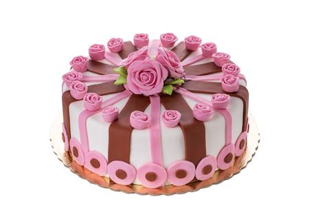 CAKE: Maravillosas flores decorativas pastel rosas. En el cumpleaños de su amada. Foto de archivo