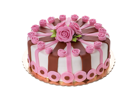 cakes: Wonderful decorative cake flowers roses. On the birthday of his beloved. Stock Photo