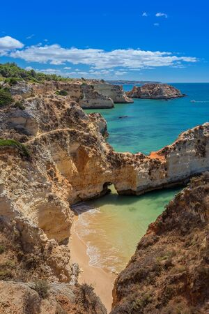 seascapes: Magic seascapes Albufeira. In summer, the clear waters. Portugal Algarve area.