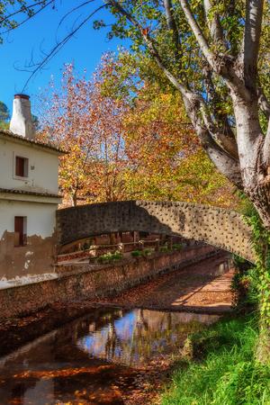 alte: Park in the autumn in Alte in Loule. Bridge over river. Portugal.