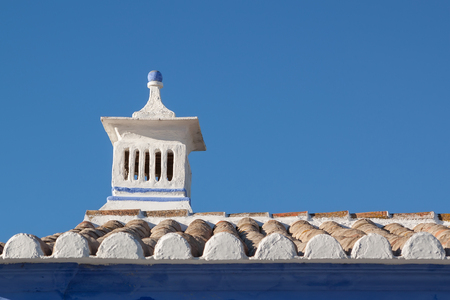 rooftile: Traditional Portuguese chimney. On the roof of the house.