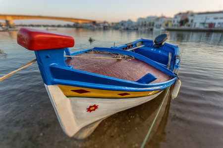 Portuguese traditional boat in Tavira. Close-up.