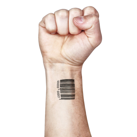confidentially: The fight against mass control confidentially. Fist and bar code. Stock Photo