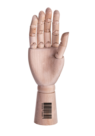 confidentially: End confidentially. Hand mannequin with a barcode.
