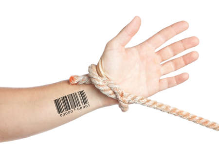 limitation: Limitation of personal privacy. Hand with barcode tied with a rope.