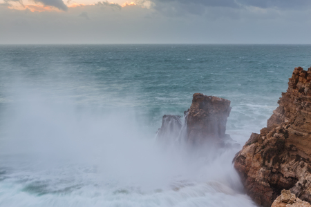 power giant: Giant waves in Sagres bay. Porugal Algarve.