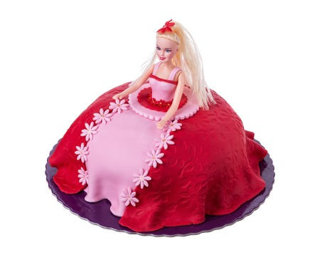 barbie: Cake doll for girls at birthday. On a white background. Stock Photo