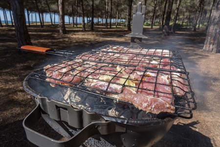 smut: Picnic cooking on the nature of the meat on the grill. Of the pork and veal. Stock Photo