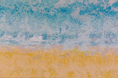 canvas art: Detail canvas texture painted yellow blue tone.
