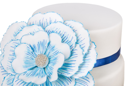 cakestand: Birthday cake of blue flower peony. Close-up. Stock Photo